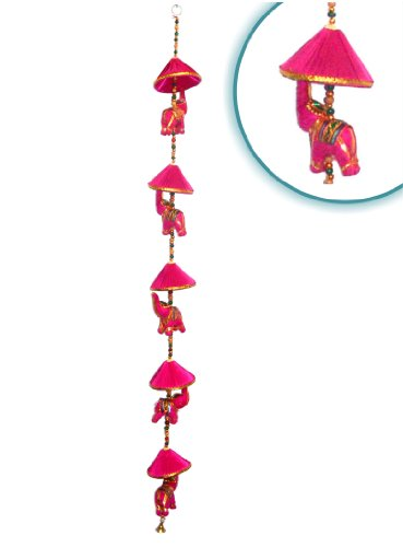Wall Hanging Decorative Cotton Elephant & Circlet Stringed with Color Beads and Brass Bell FUCHSIA