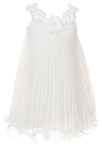 Soft & Flowy Chiffon Pageant Holiday Flower Girl Party Dress – Ivory 8