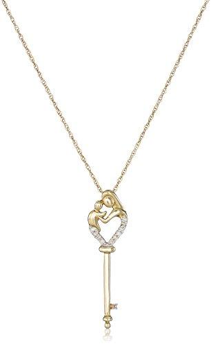 "14k Yellow Gold Mother's Jewel Diamond-Accent Key Pendant Necklace, 18"""
