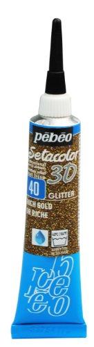 Pebeo ラメ入りの膨らんだ線やドットが描ける布用絵具 セタカラー3Dグリッター 20ml NO.40リッチゴールド