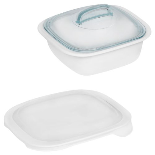 Corelle Bake, Serve, Store 1-1/2-qt White Square Bakeware w/ Glass & Plastic Covers