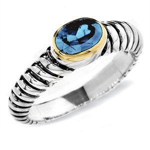 Sterling Silver 18K Gold Blue Topaz Ring (1.00 ct.tw.)