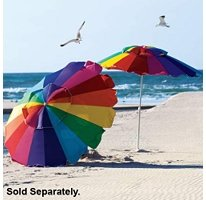 Rainbow 8' Beach Umbrella with Carry Bag, Umbrella UPF 50+ with Tilt - Fiberglass Ribs