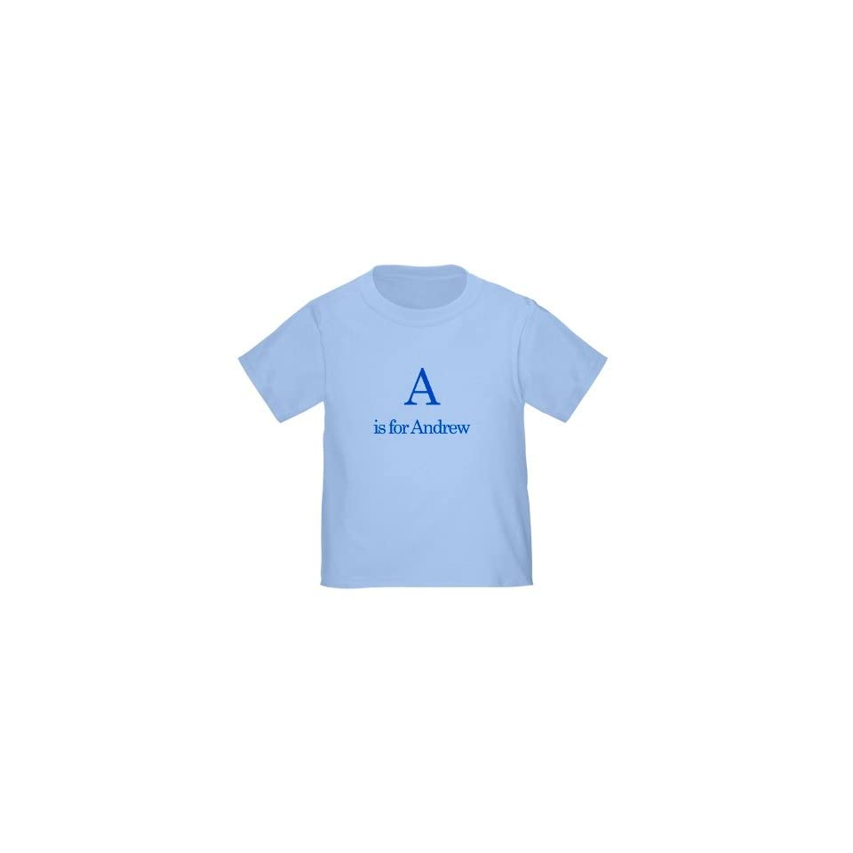 Personalized A is for Andrew Alphabet Letter Learn ABC Baby Infant Toddler Kids Shirt   CUSTOMIZE WITH ANY BOY OR GIRL NAME, Christmas Present Custom Gift Collection