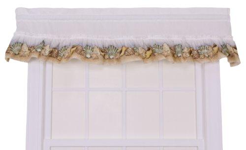 Ellis Curtain Kitchen Collection Sea Shells Ruffled Valance, White