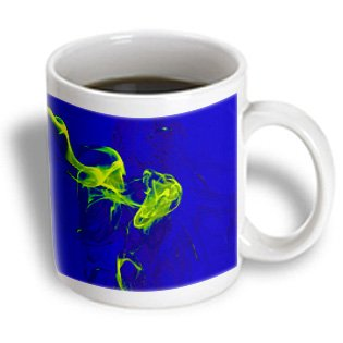 Yves Creations Smoke Effects - Yellow Green Smokey Blue Silhouette - 15Oz Mug (Mug_15499_2)