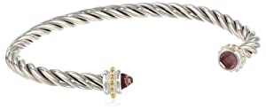 """Two-Tone"" 14k Yellow Gold Plated and Sterling Silver Thin Twisted with Purple Stone Edged Cuff Bracelet from Amazon Curated Collection"