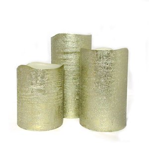 Set of 3 Metallic Candles With Auto Timer Option