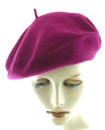 Raspberry French Style Wool Beret by Parkhurst