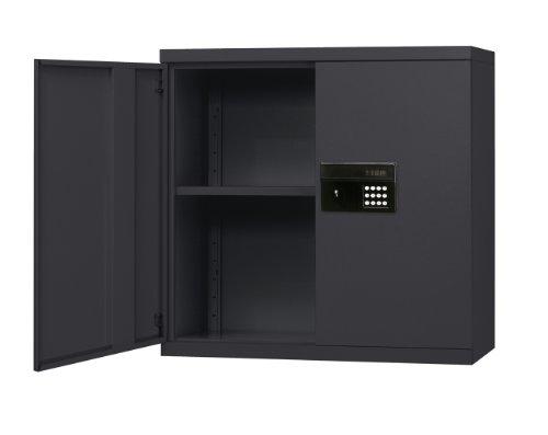 """Sandusky Lee Kdew3012-09 Black Steel Wall Cabinet, Keyless Electronic Lock, 1 Adjustable Shelf, 30"""" Height X 30"""" Width X 12"""" Depth"""