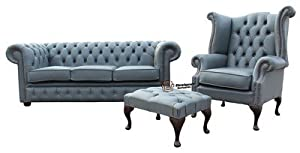 Chesterfield Soft Vele Iron Grey Leather Sofa Offer 3 1
