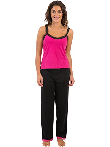 Womens Nightwear Plain Coloured Vest Top & Pyjama, Various Colours & Sizes