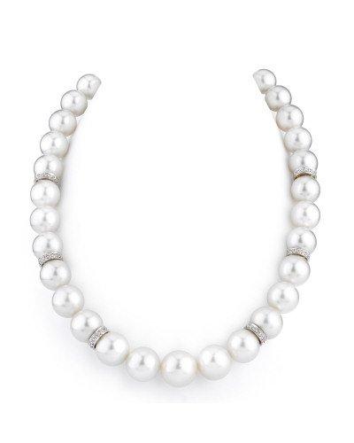 11-14mm White South Sea Pearl Necklace  Diamond