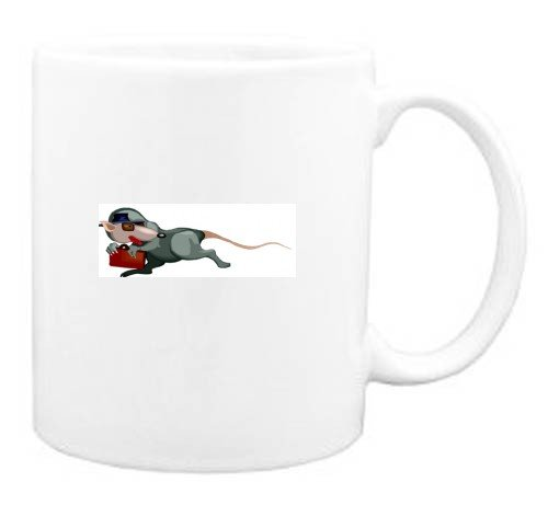 Mug with sly, spy, cartoons, cartoon, rat, animal, escaping