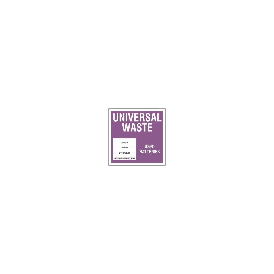 Hazardous Waste Adhesive Vinyl Labels UNIVERSAL WASTE   USED BATTERIES 6 x 6 (QTY/100)