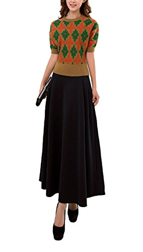 【Die Schatzkiste】 エレガント レディース ロングスカート タイト マキシ フレア コンサート フォーマル 魅力 春 無地 伸縮性 Women's Long Skirt Elegant Spring Style Concert Art Flexibility Spandex flare skirt ブラック (L)