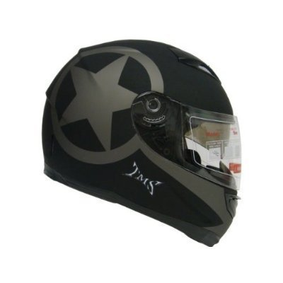 TMS  Star Matte Black Dual Visor Full Face Motorcycle Helmet w/ Smoke Sun Shield (Medium)