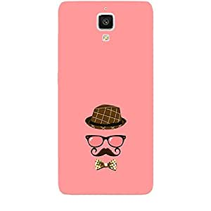 Skin4gadgets Hipster Pattern- Hat, Glasses, Mustache with a Bow Tie, Color - Salmon Phone Skin for MI 4