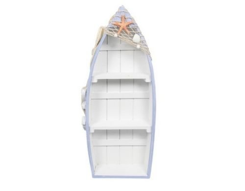 48cm Display Boat with 3 Shelves Beach Theme with Fish Net and Star Fish / Shell