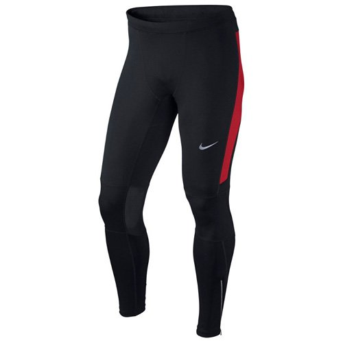 Nike Df Essential Collant da Corsa, Nero/University Red/Nero, L