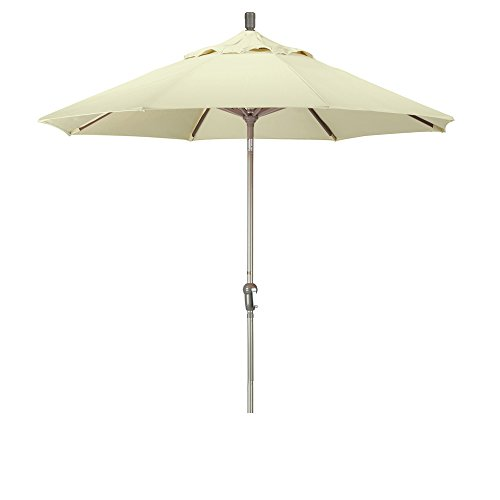 California Umbrella 9' Round Aluminum Market Umbrella, Crank Lift, Auto Tilt, Champagne Pole, Pacifica Canvas