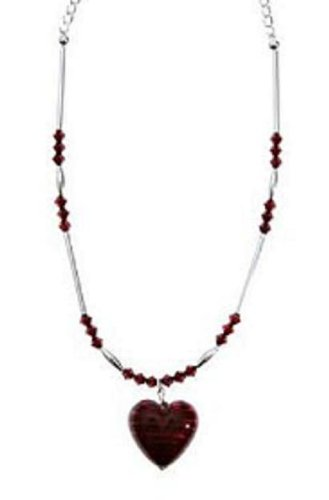 Dark Love - Dark Red Murano Heart with Swarovski Crystals - Sterling Silver Necklace. Perfect Valentines Gift