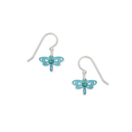 Sienna Sky Metallic Green Laser Cut Dragonfly Drop Earrings 740-2