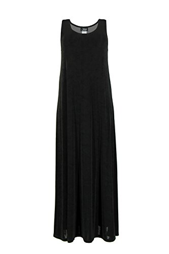 Jostar Stretchy Long Tank Dress in Black Color in Large Size