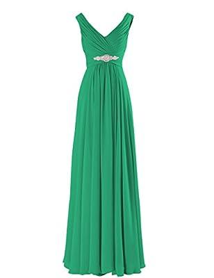 Yougao® Women's V Neck A-line Chiffon Long Floor Length Evening Dress Gown