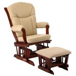 Sleigh Upholstered Glider Chair W Ottoman (Harmony/Beige Chenille)
