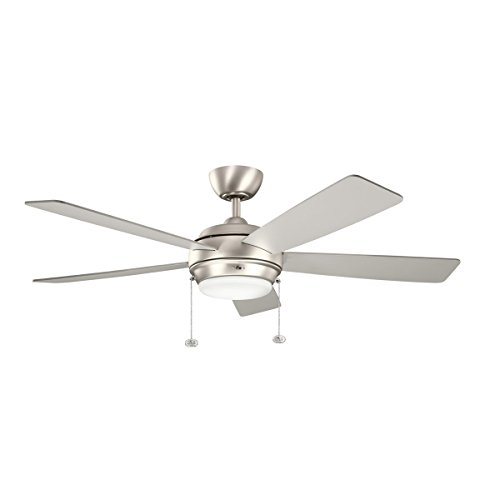 Kichler Lighting 300173NI Starkk 52IN Ceiling Fan, Brushed Nickel Finish with Reversible Silver/Walnut Blades and Satin Etched Glass Downlight (Silver Fan Blades compare prices)