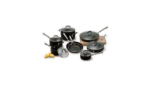 Simply Calphalon Enamel 14-Piece Cookware Set, Black