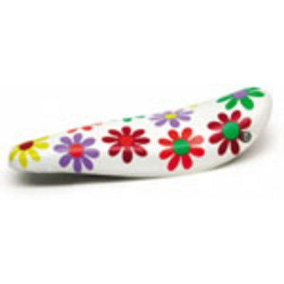 "Sunlite Classic ""Banana"" (Polo)  Bicycle Saddle, White w/ Flowers."
