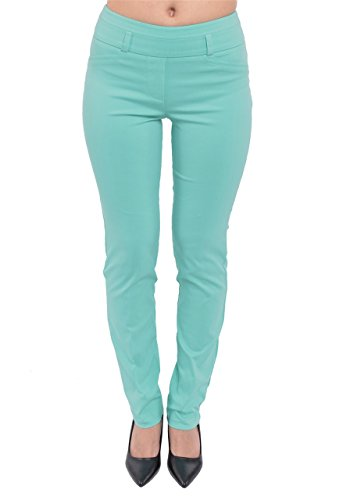 PattyCandy Womens Turquoise Comfort Fit Straight Leg Smart Business Pants, Turquoise - M (Turquoise Pants compare prices)