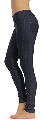 Prolific Health Women's Jean Look Jeggings Tights Yoga Many Colors Spandex Leggings Pants S-XXL (Small, Navy Blue) (Women Color Jeans compare prices)
