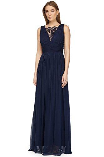 Aidan Mattox Lace Inset Pleated Chiffon Evening Gown Dress