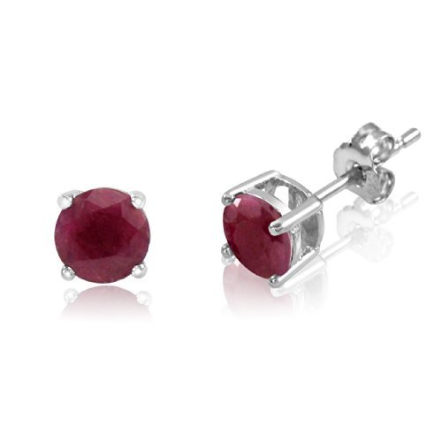 Sterling Silver Basket Set Stud Earrings with Round 5mm Genuine Ruby - Rhodium Plated