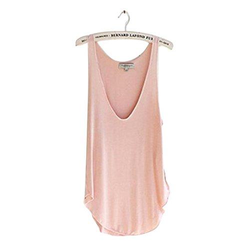 Eenkula Lady estate donne di modo del V-Collo di caramella maglia allentata Canotte T-shirt (Rosa)