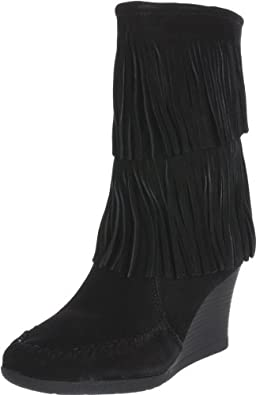 Minnetonka Women's Calf Hi Double Fringe Boot,Black,6 M US