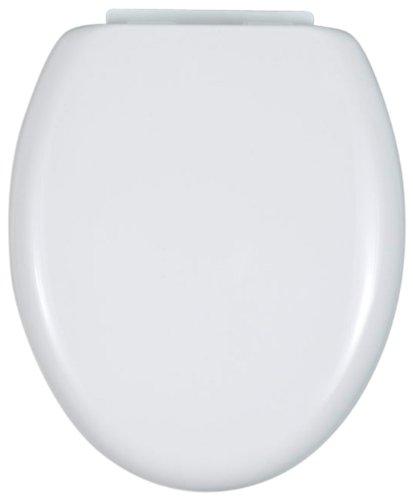 WENKO 115008100 Seduta WC  Bassano Easy Close - fissaggio in plastica variabile, termoplastica, colore bianco, Termoplastico, 38 x 43.8 cm, Bianco