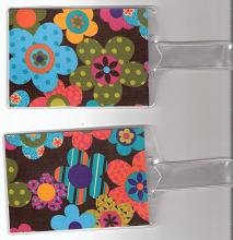 Set of 2 Luggage Tags Made with Funky Flower Fabric