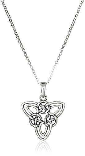 Sterling Silver Celtic Triquetra Knot Triangle Pendant Necklace, 18""