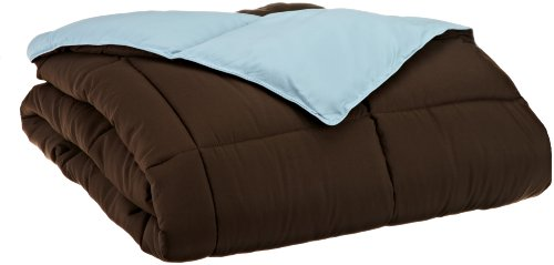 Grand Down All Season Down Alternative Full/Queen Reversible Comforter, Chocolate/Sky Blue front-654256