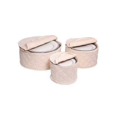 Richards Homewares Tabletop Storage 3 Piece Cotton Plate Case Set (Richards China Storage compare prices)