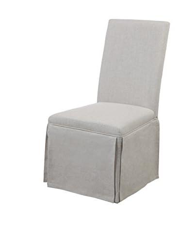 Bassett Mirror Company Skirted Parsons Chair, Grey Linen