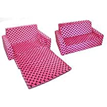 Big Sale Newco Kids Flip Sofa, Minky Hot Pink Skull