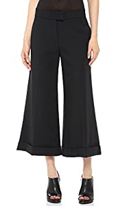 10 Crosby Derek Lam Women's Cuffed Wide Leg Crop Trousers, Black, 6