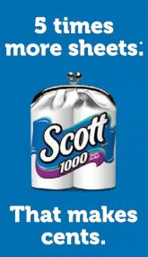 Scott 1000 Toilet paper is 1 ply bath tissue that makes cents by offering long lasting value