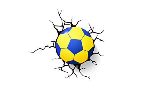 3d LED Football Wall Sticker Nightlight with Light Sensor DIY Soccer Ball Novelty Wallpaper Decorative Plug-in Lamp (Blue)