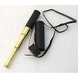 15 Handheld Brass Telescope with Leather Case - Nautical Collector